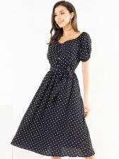 V Neck Polka Dots Tie-Wrap Short Sleeve Dress