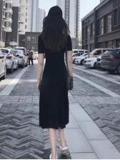 Summer Fitted Black Split Hem Short Sleeve Dress