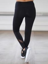 Gauze Patchwork Fitted Women Yoga Legging