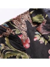 Leopard Floral Button Up Blazer For Men
