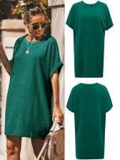 Summer Casual Solid T-Shirt Dress For Women