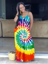 V Neck Loose Contrast Color Tie-Dyed Maxi Dress