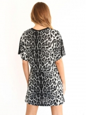 Fashion Leopard Printed Loose T-Shirt Dress