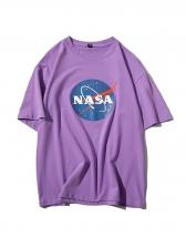 Summer Letter Print Crew Neck T Shirts