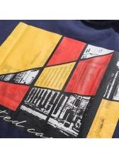 Japanese Color Block Printed Mens Tee
