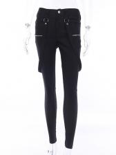 Fashion Zipper Skinny Black Suspender Pants