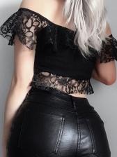 Off Shoulder Lace Detail Tie-Wrap Cropped Blouse