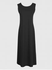 Casual Crew Neck Solid Vest Maxi Dress