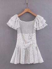 Ruffled Sleeve Flounced Hem Polka Dots Dress