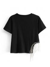 Crew Neck Tassel Rhinestone Hem Short Sleeves T-shirt