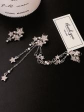 Star Design Diamond Asymmetric Long Earrings