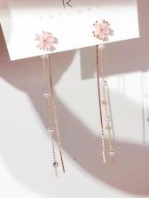 Sweet Sakura Faux Pearl Women Long Earring