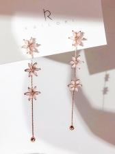 Studded Flower Easy Matching Long Earrings