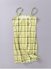 Korean Style Fitted Plaid Spaghetti Strap Dress