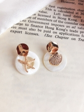Shell Starfish Shape Round Earring For Vacation