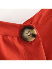 Summer Single-Breasted Pockets Red Sundress