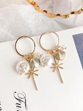 Crystal Shell Flat Pearl Hoop Earrings For Women