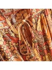 Crew Neck Tie-Wrap Floral Maxi Dress For Beach