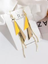 Triangle Geometric Shape Stitching Long Earrings