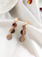 Korean Style Metal Round Shape Shiny Earrings