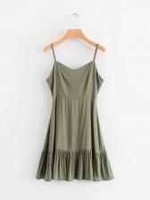 Hot Sale V Neck Flounced Hem Green Sundress