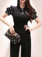 Turndown Collar Polka Dot Black Jumpsuit