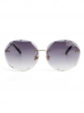 Gradient Color Polygon Non-Frame Trimming Sunglasses