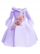 Binding Bow Off The Shoulder Long Sleeve Girl Dress