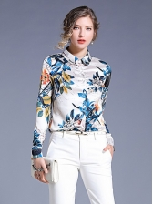 Stylish Turndown Collar Print Blouse