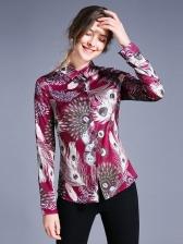 Stylish Turndown Collar Long Sleeve Print Blouse