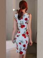 Stylish V Neck Print Fitted Sleeveless Dress