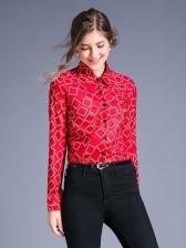 Geometric Print Tunrndown Collar Long Sleeve Blouse