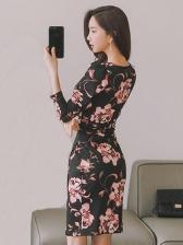 Elegant V Neck Print Long Sleeve Fitted Dress