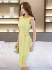 Elegant Solid Color Slim Yellow Sleeveless Dress