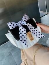 Colorblock Polka Dots Bow Decor Shoulder Bag