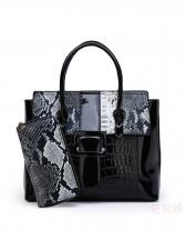 Snake Printed Croc Embossed Handbag For Women
