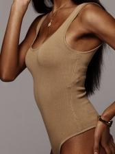 Simple Design U Neck Solid Color Women Jumpsuit