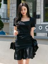 Square Collar Ruffles Black Sexy Dress