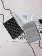 Rhinestone Decor Chain Mini Crossbody Bag