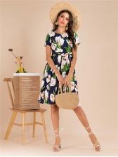 Euro Color Block Flower Tie-Wrap Dresses