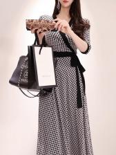 V Neck Houndstooth Print Big Swing Maxi Dress