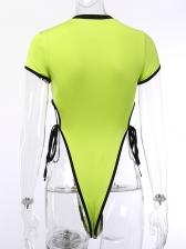 Contrast Color Tie Wrap Crew Neck Bodysuit For Women