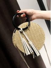 Round Handle Round Straw Bag For Women