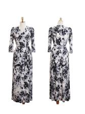 Elegant V Neck Print Tie-Wrap Maxi Dress