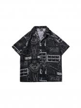 Stylish Graffiti Turndown Collar Loose Shirt