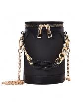 Fashion Chain Decor Zip Cylindrical Bucket Bag