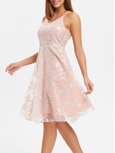 Euro Embroidered Cross Belt Gauze Blush Dress