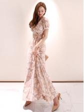 Sexy V Neck Print Tie-Wrap Maxi Dress