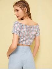 Fashion Plaid V-neck Midriff-baring Women Blouse Design