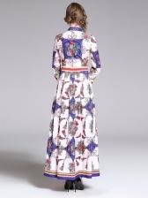 Stylish Turndown Collar Button Up Print Maxi Dress